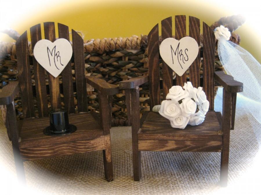 Rustic Wedding Mini Adirondack Chairs Cake Topper Personalized