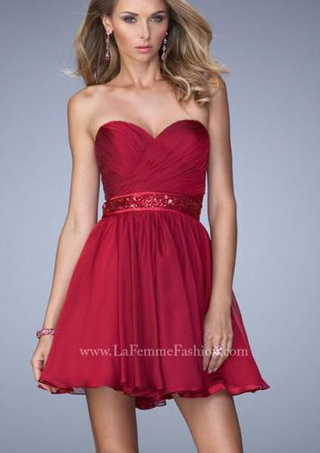 Wedding - Chiffon Sleeveless A-line Sweetheart Open Back Burgundy Navy Short Length Ruched