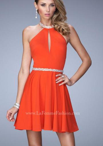 Wedding - Chiffon Black Sleeveless A-line Halter Orange Beading Backless Short Length Ruched