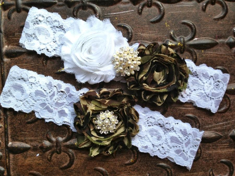 Свадьба - Camo Wedding Garter Set, Camo Wedding Garter, Camo Garter, Wedding Garter Set Camo, White Lace Garter, Camo Garter Set, You Design
