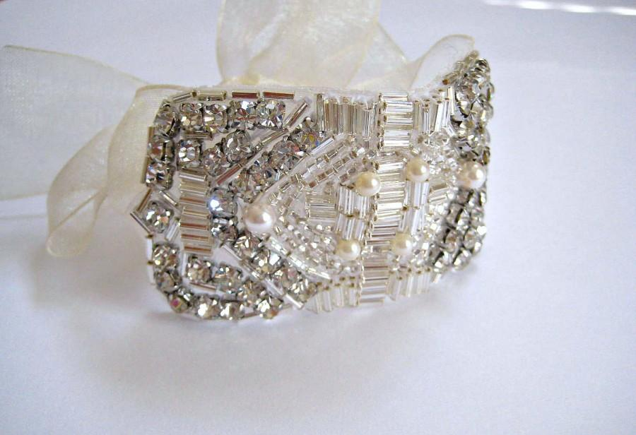 Свадьба - Bridal Great Gatsby Art Deco Bracelet.  Beaded Czechoslovakia Crystal Rhinestone Pearl Wedding Cuff. FLAPPER DECO