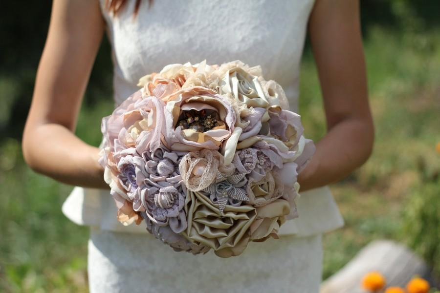 """Mariage - fabric bouquet 12-14"""" FULL PRICE fabric wedding bouquet fabric flowers handmade flowers purple bouquet ribbon roses ribbon bouquet brooch"""