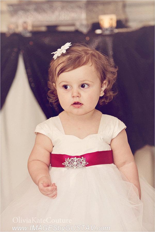 Wedding - Flower girl dress, baby girl dress, silk flower girl dress, ivory tulle dress, girls dress, wedding, cap sleeve