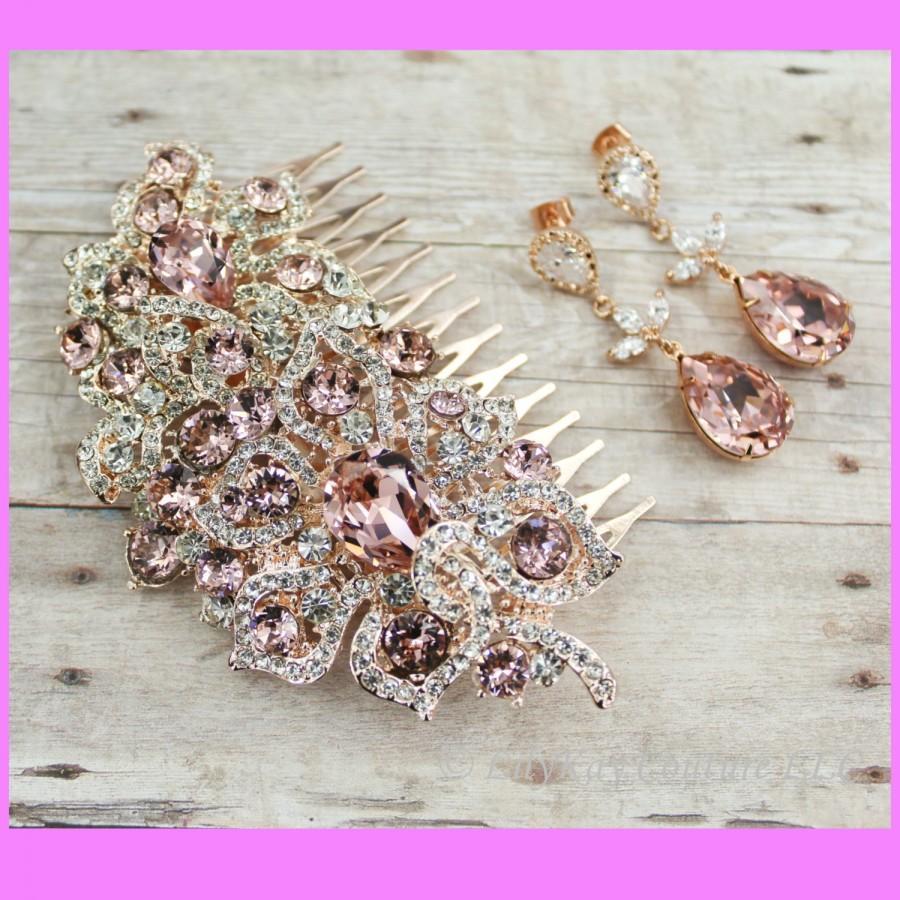 Wedding - Rose Gold Bridal Comb Wedding Hair Comb Rose Gold Bridal Jewelry Blush Pink Rose Gold Hair Comb Blush Pink Bridal Jewelry Blush Crystal Comb