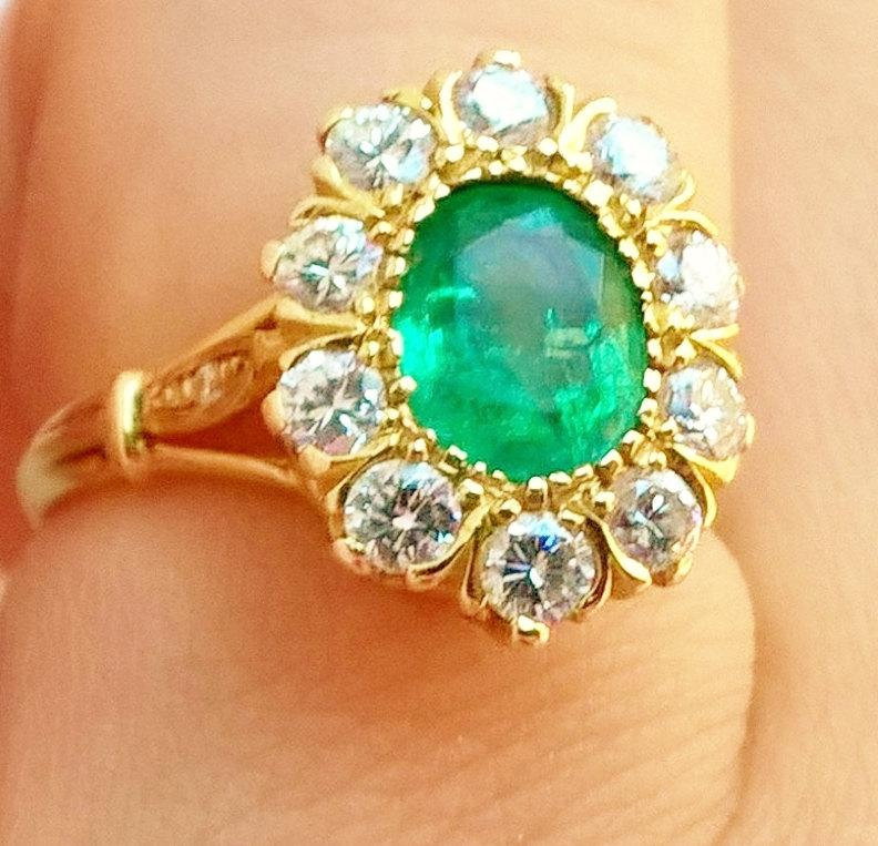 Mariage - SALE Edwardian Victorian Halo Emerald Diamond Ring 14K Yellow Gold! Grassy Green Stunner! Unusual Oval Cut! Holiday Engagement or Birthstone