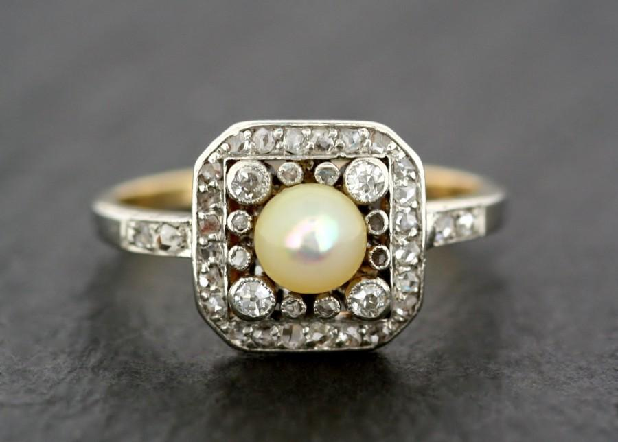 Mariage - Antique Edwardian Ring - Antique Pearl & Diamond Ring - Gold and Platinum Antique Engagement Ring