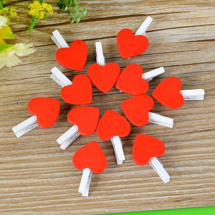 Wedding - 20Pcs Heart Wooden Pegs Red Paper Photo Clips Craft Wedding Decor