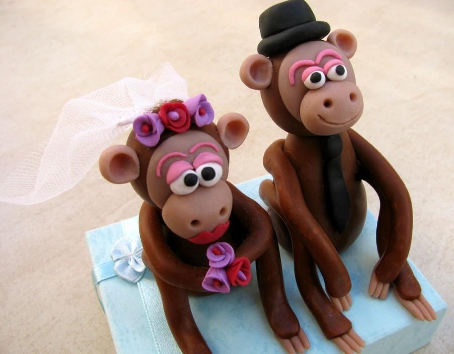 زفاف - monkeys wedding cake topper