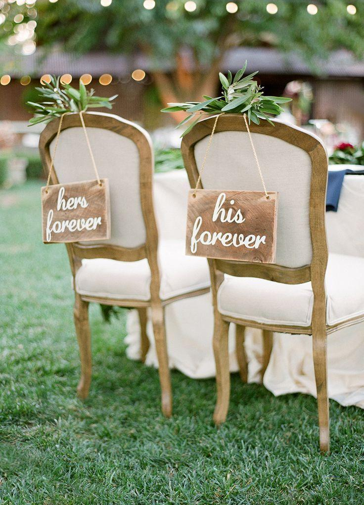 Mariage - 30 Awesome Wedding Sign Decor Ideas For Bride & Groom Chairs