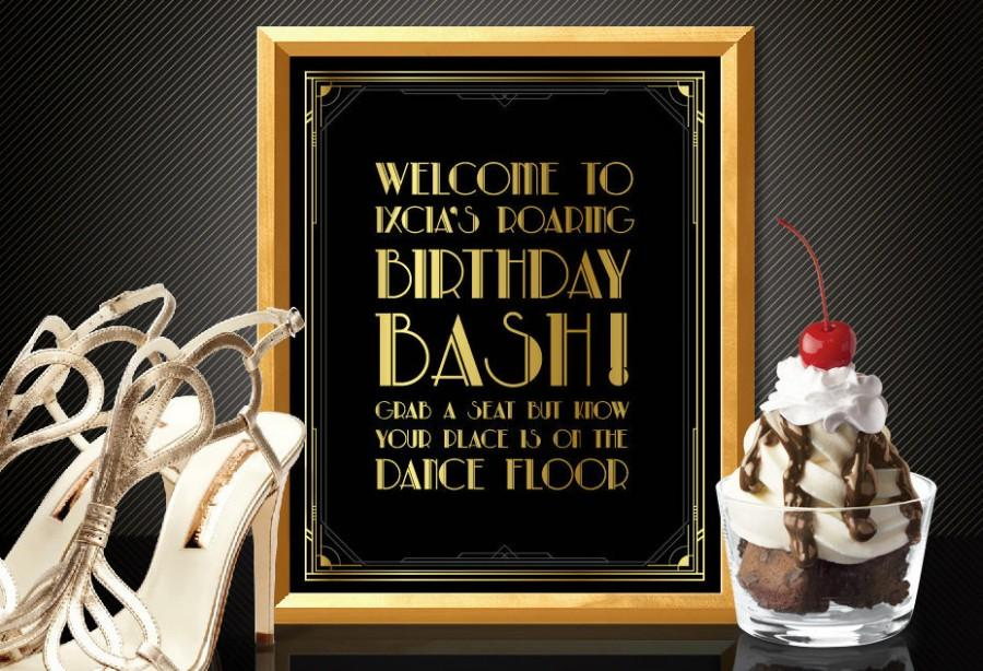 Mariage - Printable Customised the DANCE FLOOR sign - Art Deco style Great Gatsby 1920's theme, party supplies, decoration