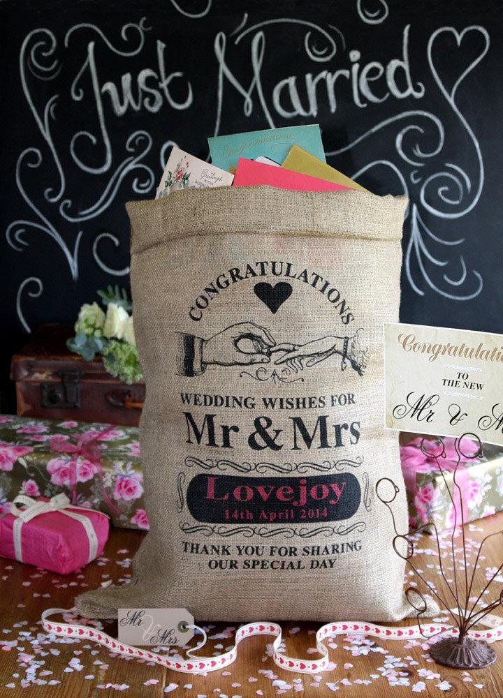 Personalized wedding card post box  wishing well or card receiving hessian  sack  Custom wedding card holder Personalized Wedding Card Post Box  Wishing Well Or Card Receiving  . Personalized Wedding Cards. Home Design Ideas