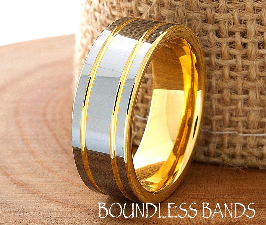زفاف - Tungsten Ring Yellow Gold Wedding Band Ring 8mm 18K Tungsten Ring Man Wedding Band Male Women Anniversary Matching