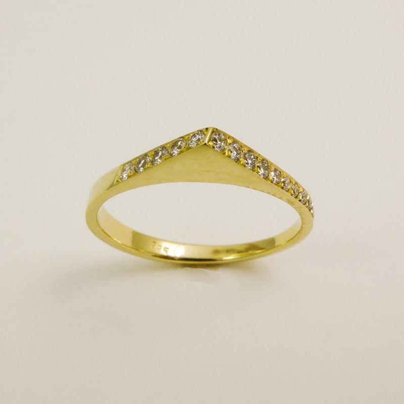 Wedding - 14 karat  solid gold triangle ring with diamonds, Simple gold and diamonds ring, Thin geometrical engagement  ring, Minimalist diamond ring