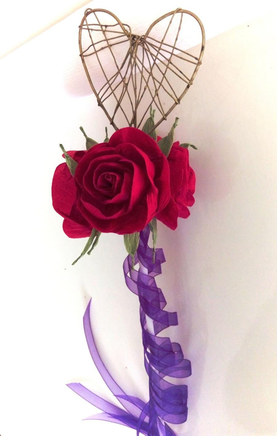 Свадьба - Royal red paper rose princess wand Flower girl wedding Queen of love hearts scepter red queen Fairy Wand Princess Scepter Birthday Party