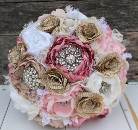 Wedding - Heirloom brooch bouquet. Book and fabric peony flowers in dusty rose,blush, champagne and white. Jane Austin inspired.