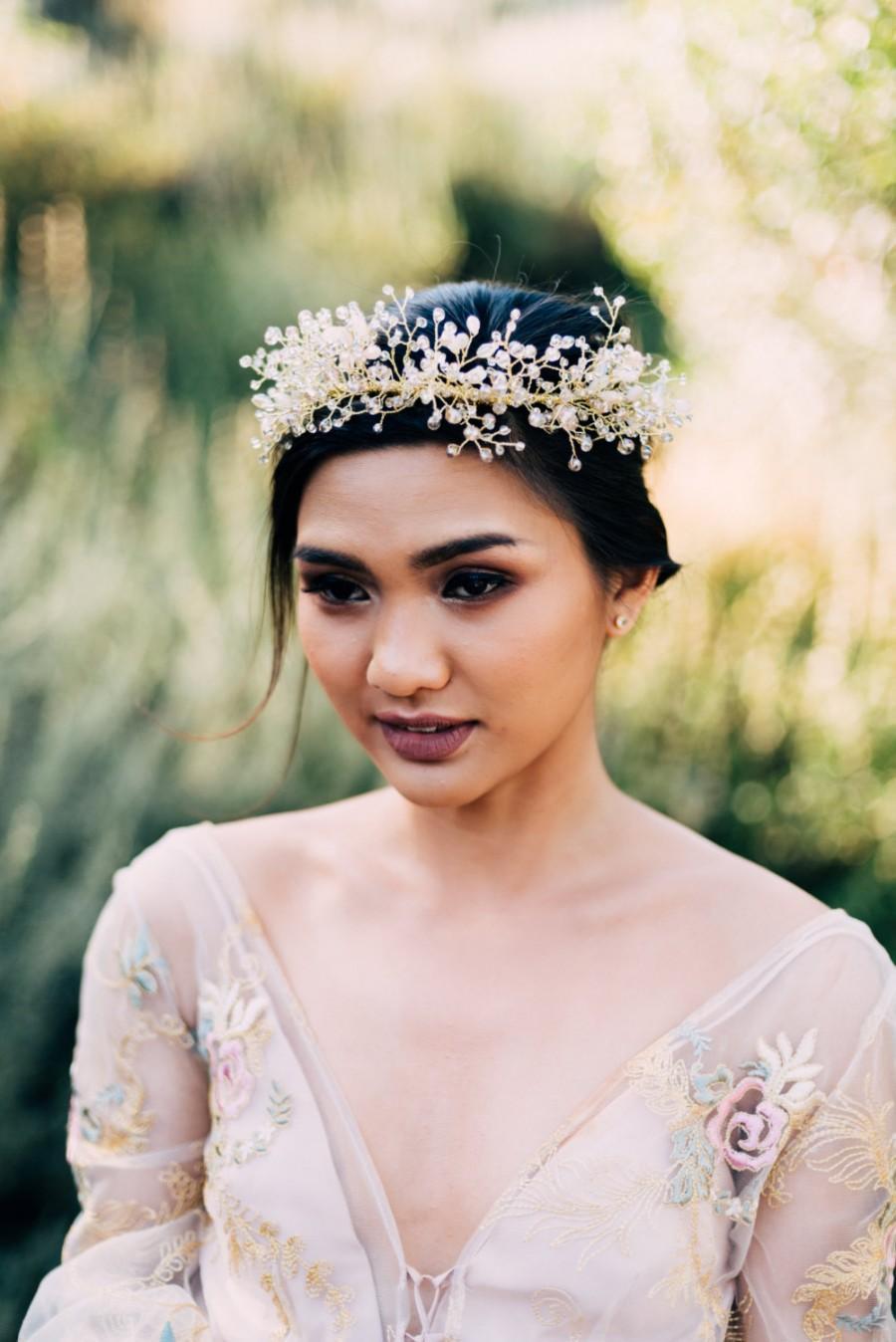 Mariage - Bridal Headpiece, Flower Crown, Wedding Headpiece, Wedding Crown, Beaded Crown, Wedding Hair Vine, Beaded Headpiece, Halo-Style 304- Ariella