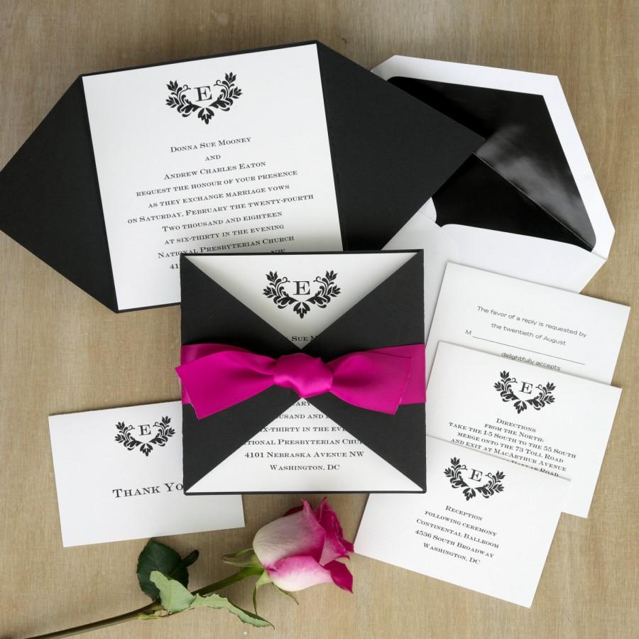 Initial Invitation With Folded Wrap Thermography Wedding Invite
