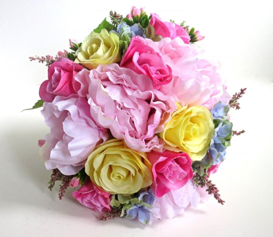 Свадьба - Bridal Bouquet - Silk Bouquet - Faux Bouquet - Artificial Bouquet - Pink/Yellow/Blue Bouquet
