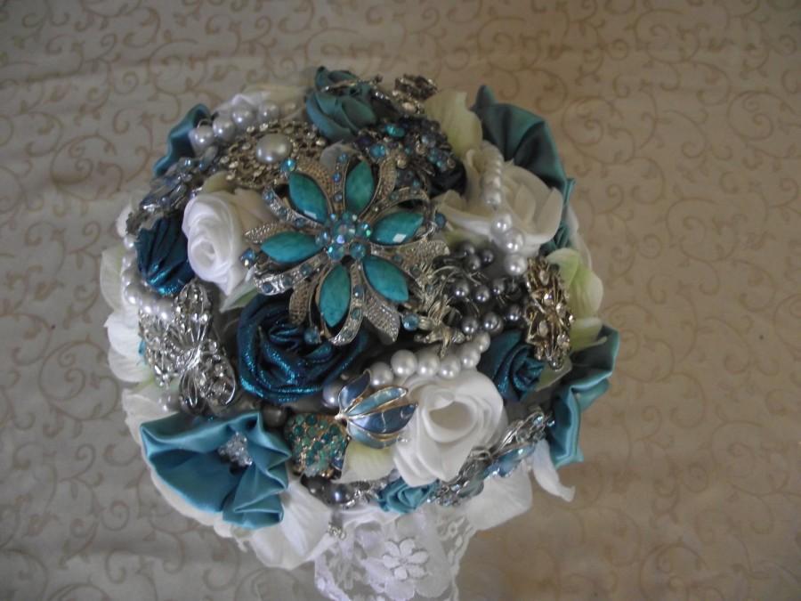 Mariage - Brooch Bouquet, Teal, Aqua, Handmade Flowers, Rhinestones Brooches, Faux Pearls