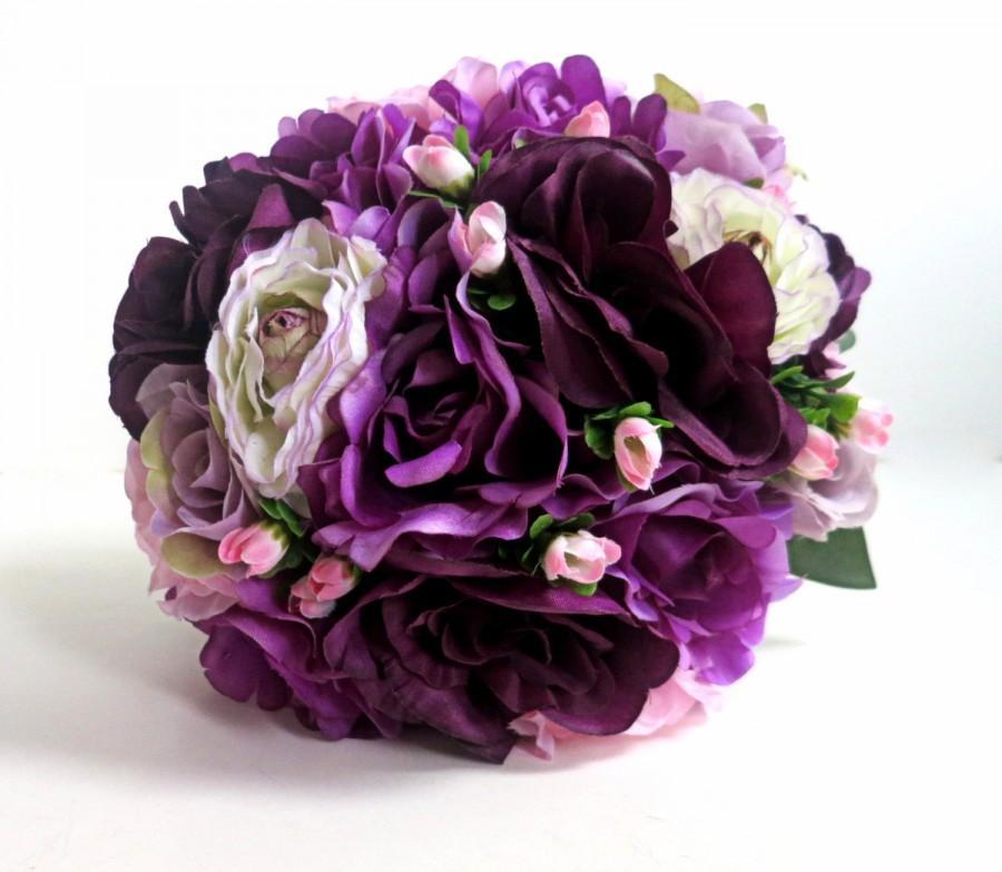 Wedding - Bridal Bouquet - Silk Bouquet - Faux Bouquet - Artificial Bouquet - Purple/Lavender/PinkBouquet