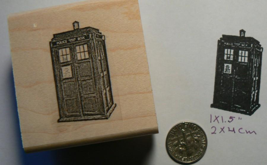 Wedding - Dr. Who booth rubber stamp  P49C