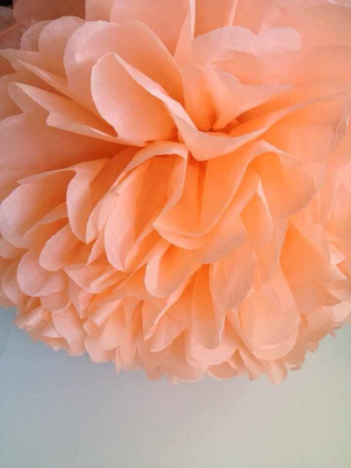 زفاف - 1 Peach Tissue Paper Pom Pom, Paper Pom Pom, Wedding Pom, Nursery Decor, Wedding Decoration, Party Supplies, Bat Mitzvah, Bridal Shower, DIY