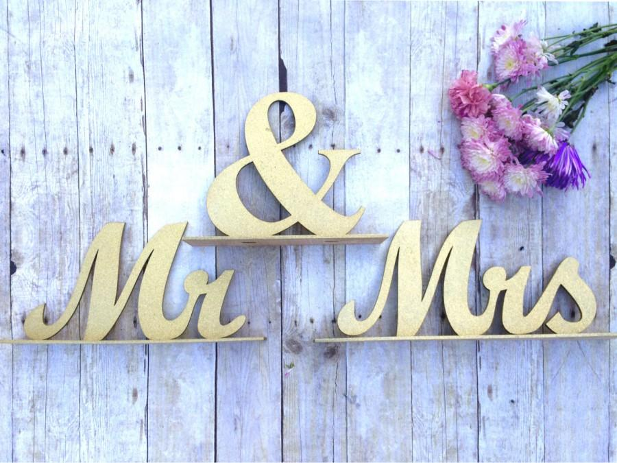 Mariage - Mr and Mrs Sign, Wedding Sweetheart Table, Mr and Mrs Table Sign, Gold Glitter, Wedding Sign, Mr & Mrs Letters XL, Bride Groom Table Decor
