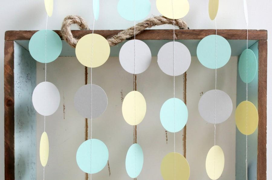 زفاف - Mint Green, Light Yellow, Grey 12 ft Circle Paper Garland- Wedding, Birthday, Bridal Shower, Baby Shower, Party Decorations
