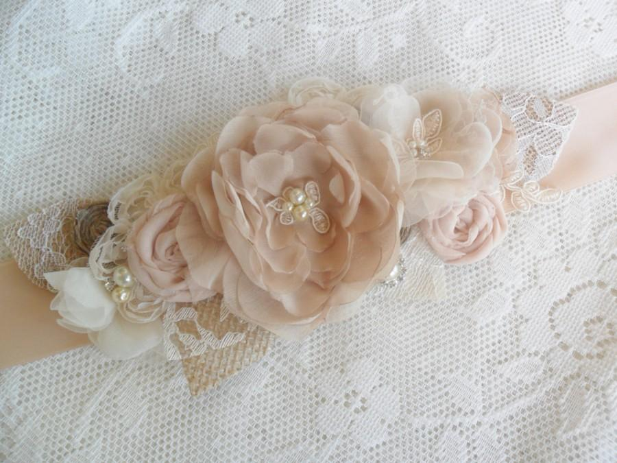 Mariage - Bridal Sash, Rustic Wedding Sash, Champagne/Nude Lace Sash, Floral Sash,Burlap & Chiffon Sash, Available in many colors, Lace and Pearl Sash