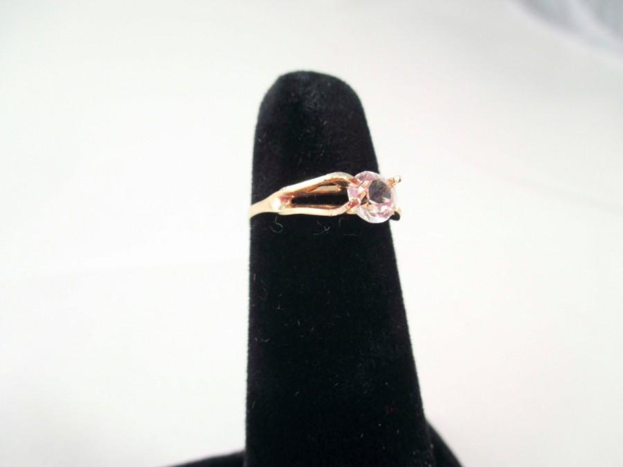 Wedding - Gold Ring with LArge faux Diamond Stone SIze 5 Engagement Vintage