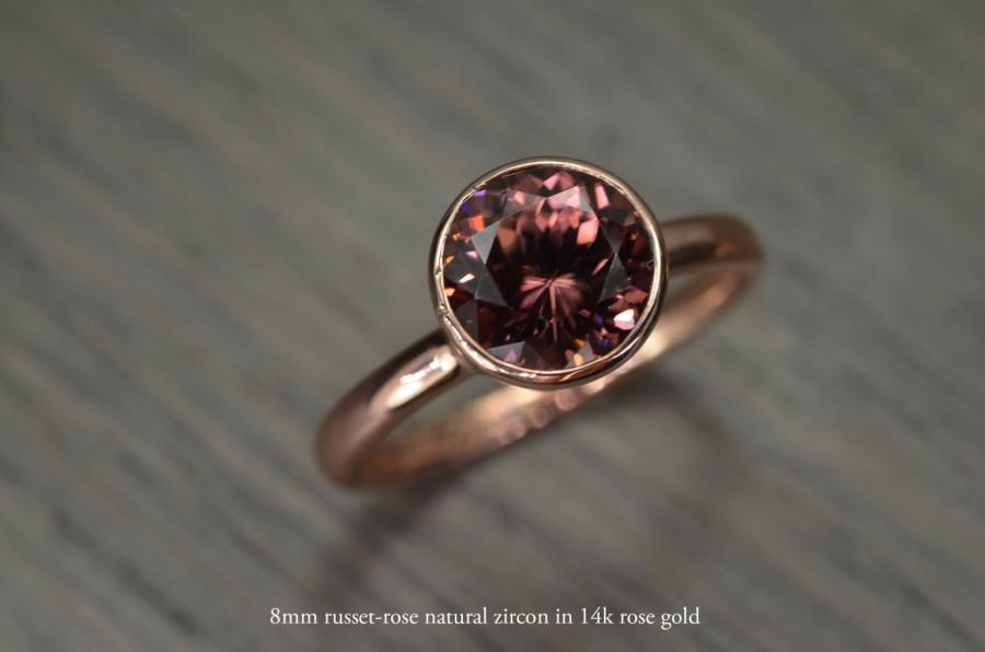 Wedding - Zircon Deep Rose Russet Gold Ring, 2.5ct round Engagement Ring, solid yellow rose white gold bezel - Blaze Solitaire