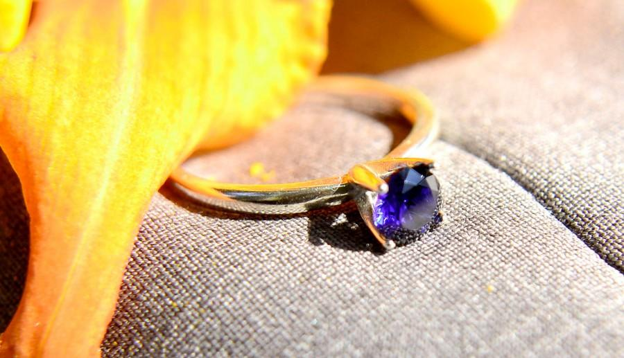 Wedding - Sapphire Ring in Sterling Silver, Blue Engagement Ring, Silver Wedding Ring, Promise Ring