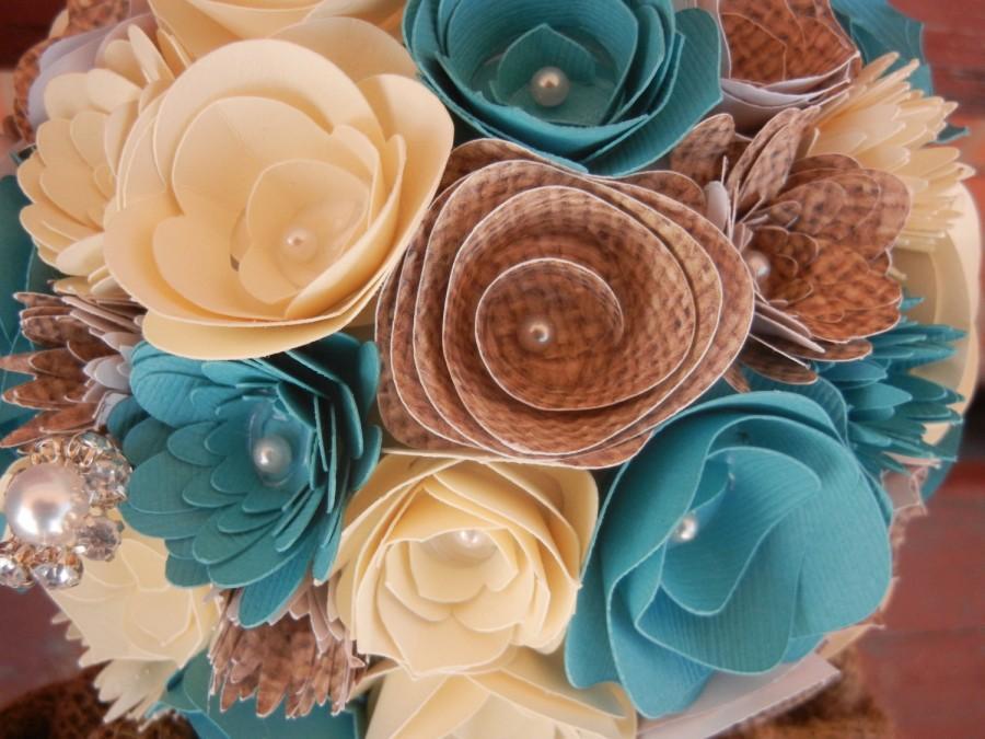 زفاف - Medium Custom Handmade Paper Wedding Bouquet Bride or Bridesmaids Bouquet ANY COLORS Teal Ivory Burlap
