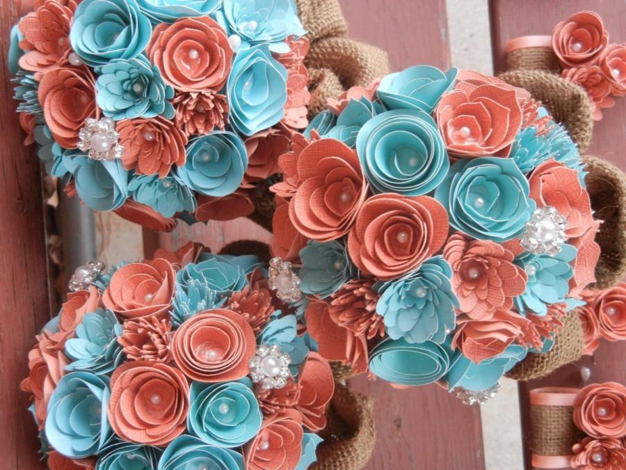 Medium Custom Handmade Paper Wedding Bouquet Bride Or Bridesmaids Any Colors C Teal Burlap