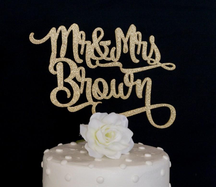 Свадьба - Custom Name Mr and Mrs Wedding Cake Topper