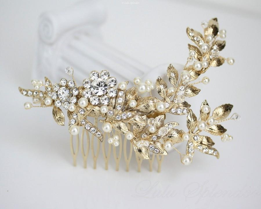 Wedding - Wedding Headpiece Gold Leaf Bridal Comb Swarovski Pearl and Crystal Statement Wedding Hair Comb Vintage Style Head Piece  MIER HP
