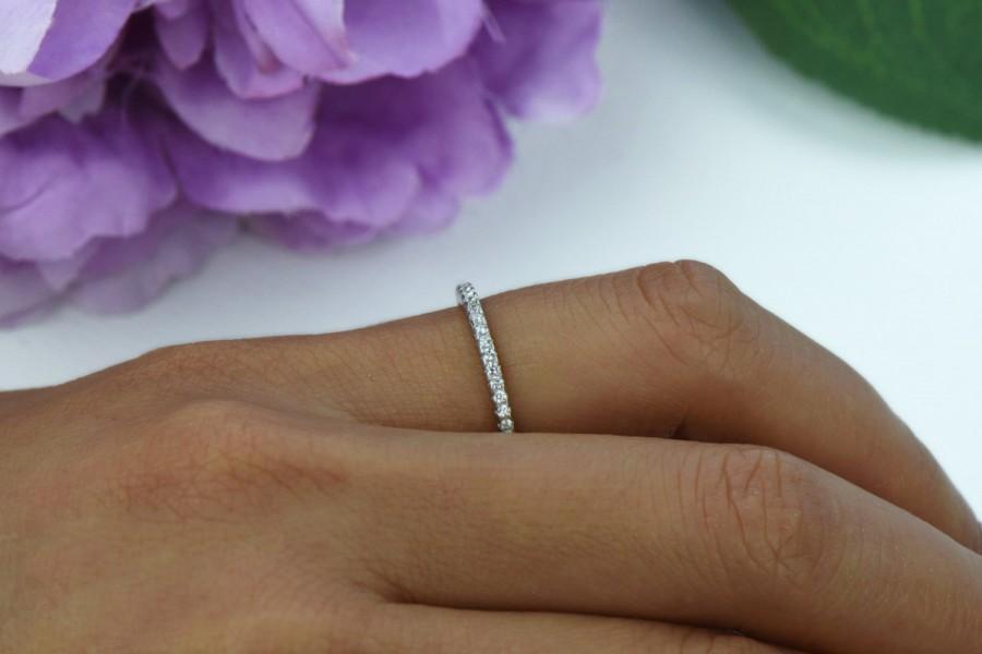 Mariage - Small, Half Eternity Ring, 1.5mm Wedding Band, Engagement Ring, Man Made Diamond Simulants, Bridal Ring, Round Wedding Band, Sterling Silver