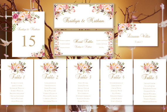 "Hochzeit - Wedding Seating Chart ""Romantic Blooms"" Floral Table Sign Templates, Table Number Cards, Place Cards Tent Compat. with Avery 5302"