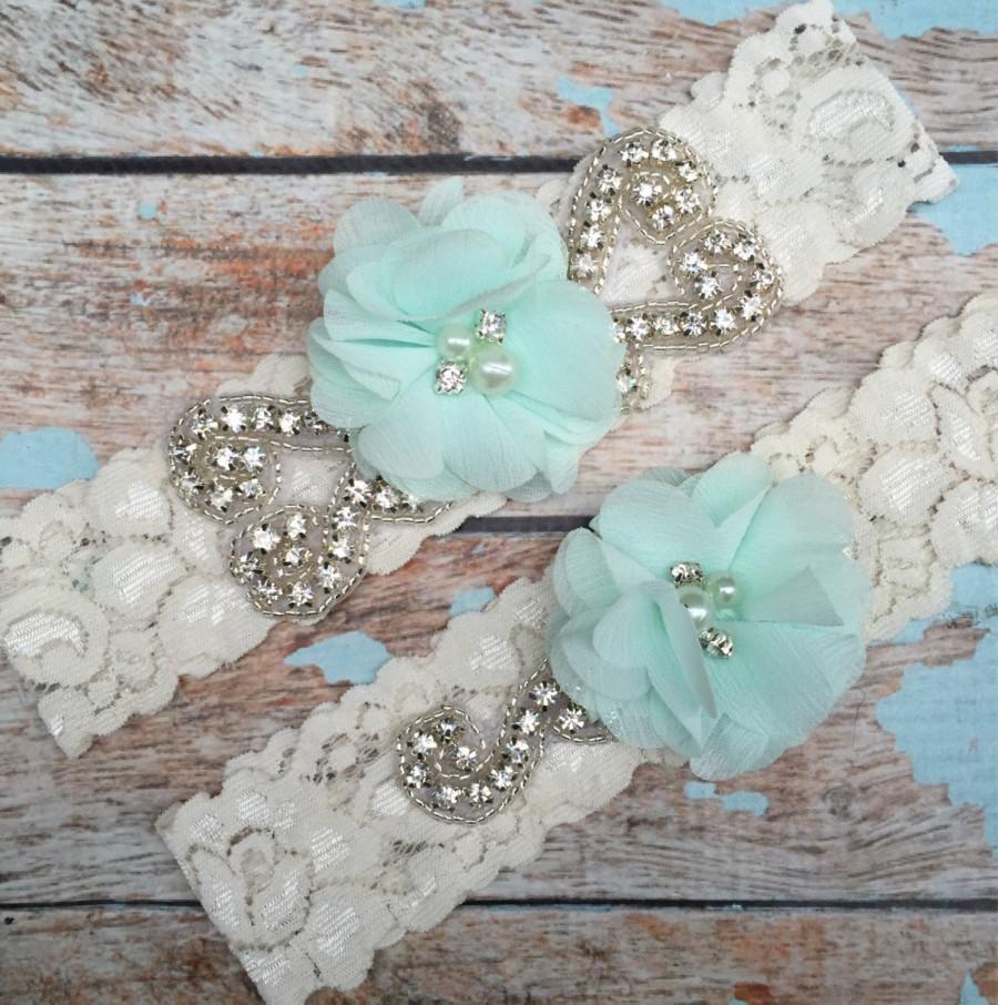 Wedding - Seafoam  Wedding garter / Lace garter SET / bridal  garter / vintage lace garter / chiffon flower / toss garter / weddin