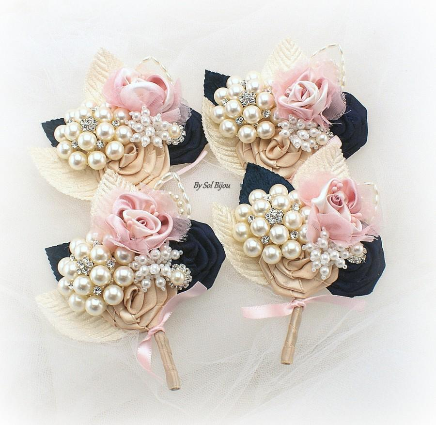 Brooch Boutonnieres, Blush, Gold, Navy Blue, Corsages, Groom ...