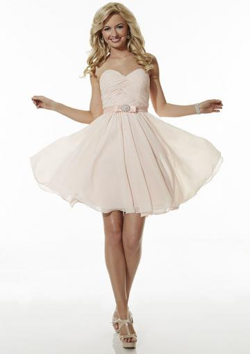 Wedding - Sweetheart Chiffon Zipper A-line Pink Ruched Knee Length Sleeveless