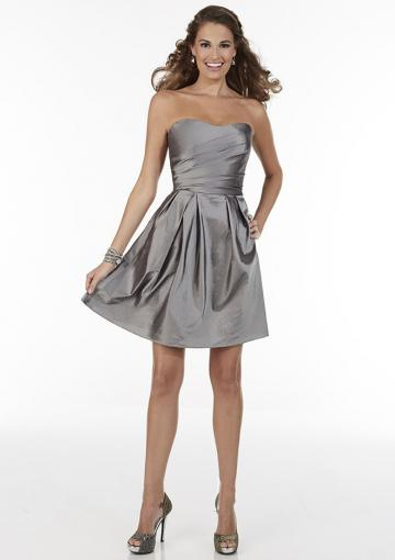 Wedding - Strapless Satin Zipper Gray A-line Sleeveless Ruched Knee Length