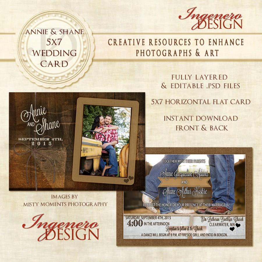 Rustic Wedding Card Country Wedding Card Wedding Photo Card
