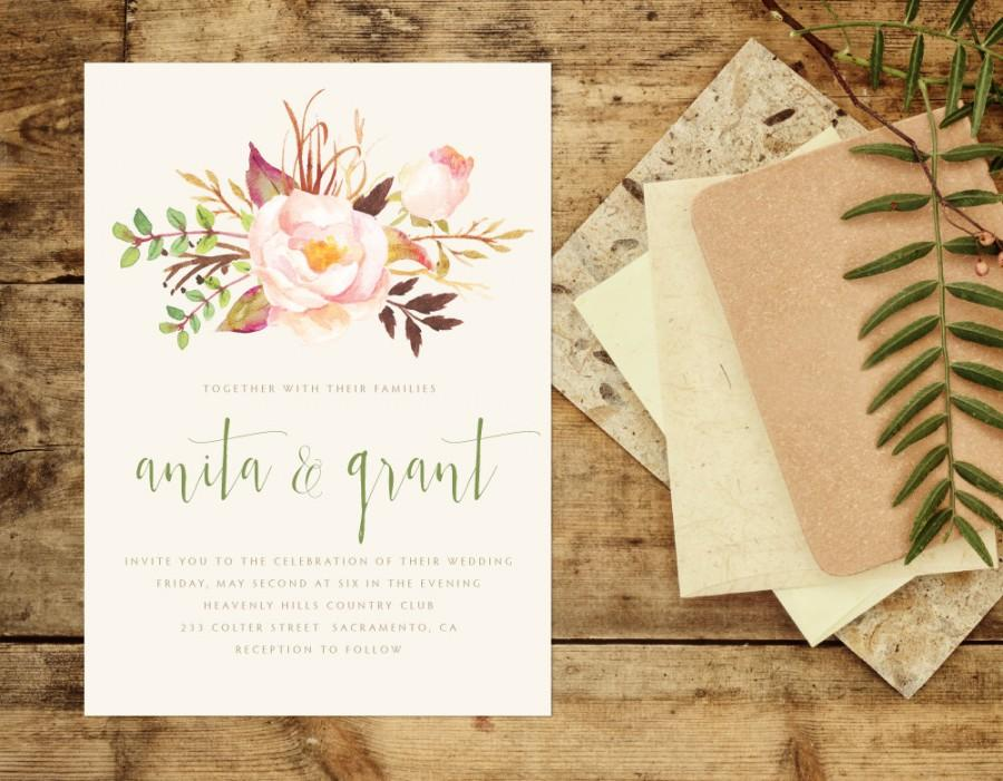Sage And Sandalwood Wedding Invitation Floral Wedding Invitation