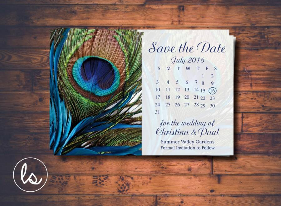 Peacock Save The Date Peacock Feather Calendar Save The Date