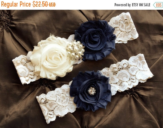 Wedding - ON SALE NAVY Wedding  Garters -  Navy Garter Set - navy wedding garter belt -  lace garter - navy bridal garter - stretch lace garter-someth