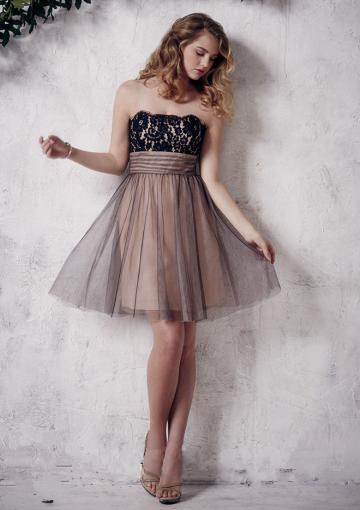 Wedding - Strapless Tulle Zipper A-line Sleeveless Ruched Knee Length