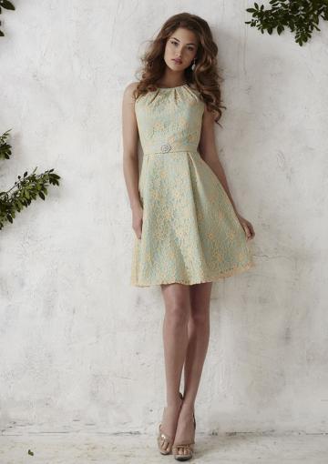 زفاف - Zipper A-line Sleeveless Straps Lace Ruched Knee Length