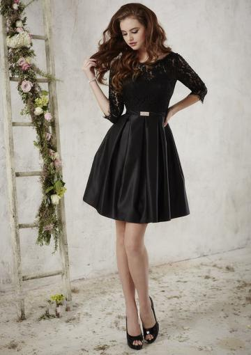Wedding - Black Bateau Half Sleeves V-back Satin Lace A-line Ruched Knee Length