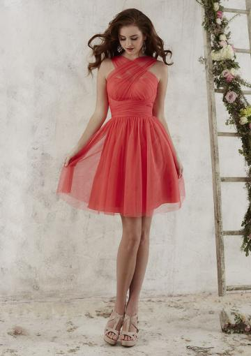 Mariage - Zipper Chiffon A-line Sleeveless Halter/One Shoulder/ Strapless Ruched Knee Length
